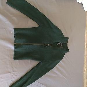 Green Sweater Zip-up Crop Top